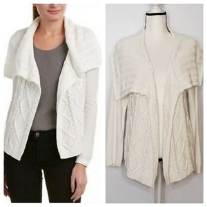 CABI white cable knit draped open cardigan